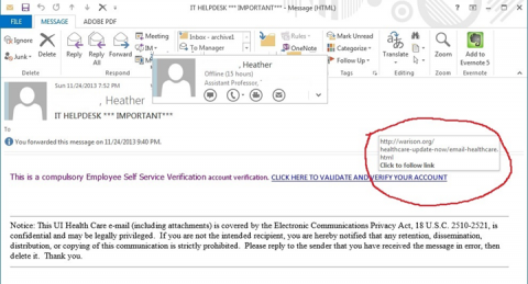 Phishing e-mail example